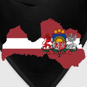 Latvia Map Flag With Stroke And Coat Of Arms - Bandana