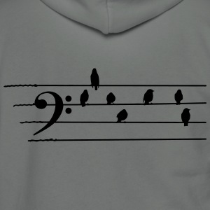 Music - Bass Clef birds as notes T-Shirts - Unisex Fleece Zip Hoodie by American Apparel