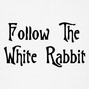 White Follow The White Rabbit Alice in Wonderland Buttons - Men's T-Shirt