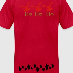 ho ho ho txt reindeer christmas vector graphic art Men's Crewneck Sweatshirt - Men's T-Shirt by American Apparel