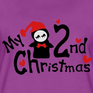 My 2nd Christmas txt penguin hearts vector graphic lien art Baby Long Sleeve One Piece - Women's Premium T-Shirt