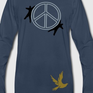 Peace symbol & dove bird  Men's V-Neck T-Shirt by Canvas - Men's Premium Long Sleeve T-Shirt