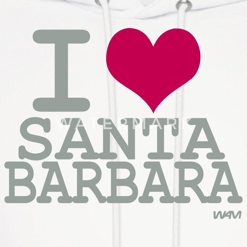 White i love santa barbara by wam Hoodies - Men's Hoodie