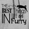 The best things in life are furry- dog - Contrast Hoodie