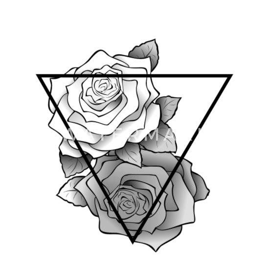 Retro Black White Roses Hipster Triangle Trucker Cap Whiteblack