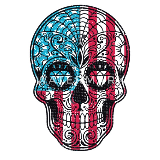 57c80128a Sugar Skull US Flag Diamonds USA Funny Logo Trucker Cap | Spreadshirt