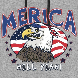 Merica Hell Yeah Patriotic Bald Eagle - Colorblock Hoodie