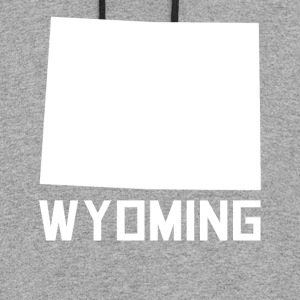 Wyoming State Silhouette - Colorblock Hoodie