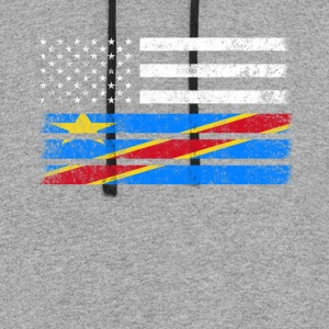 Congolese American Flag - USA Congo Shirt - Colorblock Hoodie