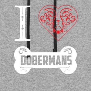 Doberman I Heart Dobermans Bone Ornaments - Colorblock Hoodie