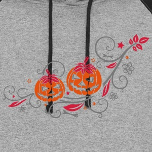 Halloween ornament with pumpkins and flowers. - Colorblock Hoodie