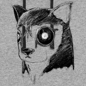 Creepy Husky Dog Stare Inverted - Colorblock Hoodie