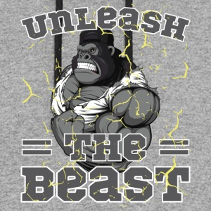 Unleash The Beast Bodybuilder Gorilla Character - Colorblock Hoodie