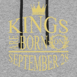 Kings are born on September 28 - Colorblock Hoodie