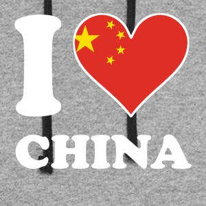 I Love China Chinese Flag Heart - Colorblock Hoodie