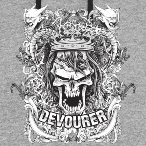 grunge vector t shirt with angry king skull - Colorblock Hoodie
