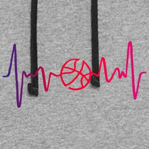 Basketball Heartbeat. Love Heart. Colorful - Colorblock Hoodie