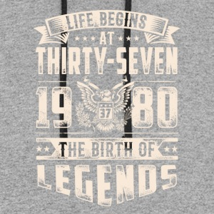 Life Begins at Thirty-Seven Legends 1980 for 2017 - Colorblock Hoodie