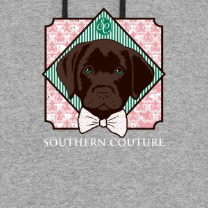 Southern Couture Comfort Color Preppy Lab Dog Bow - Colorblock Hoodie