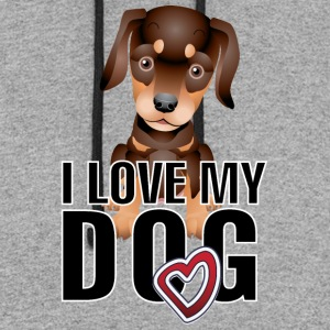 I_love_my_dog_2_black - Colorblock Hoodie