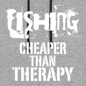 Fishing Cheaper Than Therapy - Colorblock Hoodie