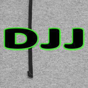 DJJ Text With Green Outline - Colorblock Hoodie