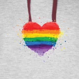 Gay Pride - Colorfull LGBT Rainbow Heart - Colorblock Hoodie
