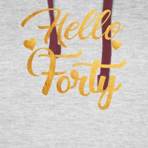 Hello Forty Five 40th Birthday Shirt - Colorblock Hoodie