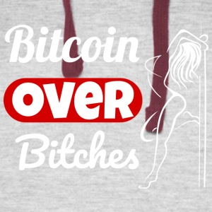Bitcoin Over Bitches - White - Colorblock Hoodie