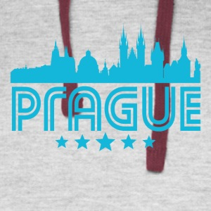 Retro Prague Skyline - Colorblock Hoodie