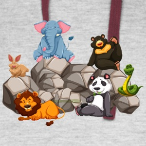 animal-panda-bear-snake-elephant-lion-rabbit - Colorblock Hoodie