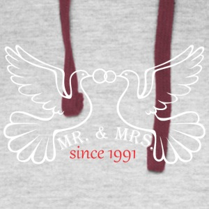 Mr And Mrs Since 1991 Married Marriage Engagement - Colorblock Hoodie