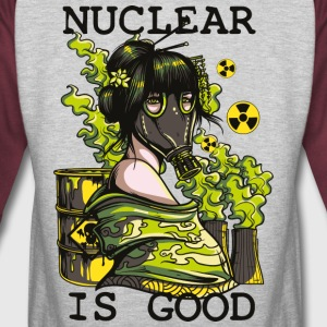 Nuclear is good - geisha with gasmask sarcastic - Colorblock Hoodie