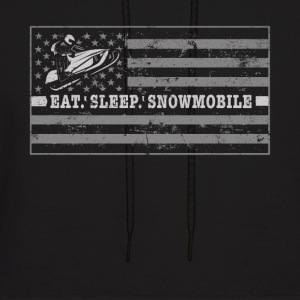 Snowmobile Flag Snowmobile Outfit Eat Sleep Snowmobile - Men's Hoodie