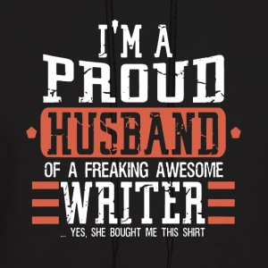 I m a proud husband of a freaking awesome writer y - Men's Hoodie