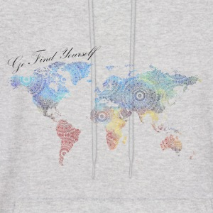 World Map as a Mandala - Go find yourself - Men's Hoodie