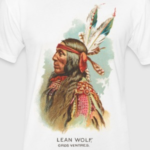 Native American Historical Art Lean Wolf - Fitted Cotton/Poly T-Shirt by Next Level