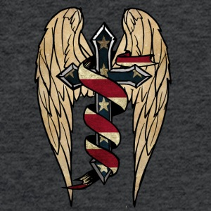USA cross wings ribbon - Fitted Cotton/Poly T-Shirt by Next Level
