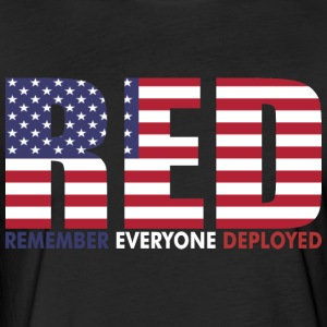 Red Remember Everyone Deployed - Fitted Cotton/Poly T-Shirt by Next Level