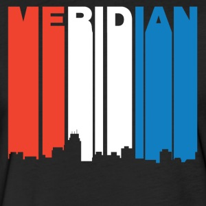Red White And Blue Meridian Mississippi Skyline - Fitted Cotton/Poly T-Shirt by Next Level