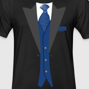 Tuxedo Blue Tie - Fitted Cotton/Poly T-Shirt by Next Level