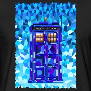Blue Phone Booth Cubic Art - Fitted Cotton/Poly T-Shirt by Next Level