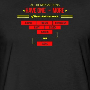All human actions have one or more of these seven - Fitted Cotton/Poly T-Shirt by Next Level