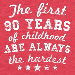 90 Years Of Childhood 90th Birthday - Fitted Cotton/Poly T-Shirt by Next Level
