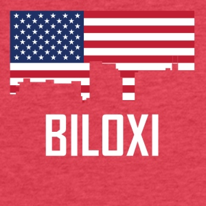 Biloxi Mississippi Skyline American Flag - Fitted Cotton/Poly T-Shirt by Next Level