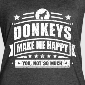 Donkeys Make Me Happy Funny Donkey Gift T-shirt - Women's Vintage Sport T-Shirt