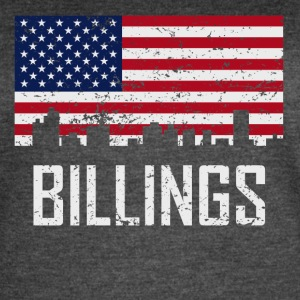 Billings Montana Skyline American Flag Distressed - Women's Vintage Sport T-Shirt