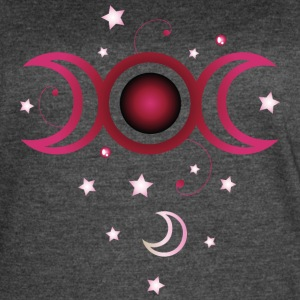 Triple moon with stars, pink. - Women's Vintage Sport T-Shirt
