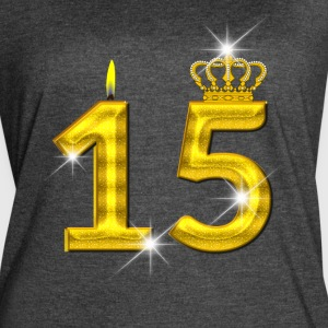 15 - Birthday - Golden Number - Crown - Flame - Women's Vintage Sport T-Shirt