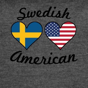 Swedish American Flag Hearts - Women's Vintage Sport T-Shirt